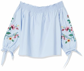 J.o.a. Women's Embroidered Smocked Off The Shoulder TOP