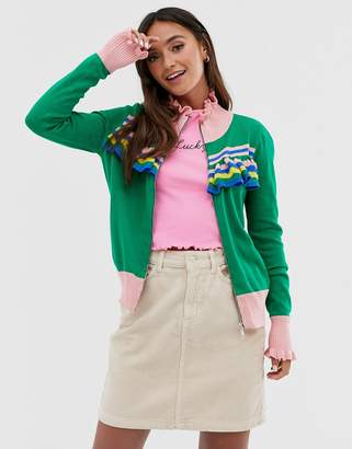 Glamorous zip front jumper with contrast stripes and frill detail-Green