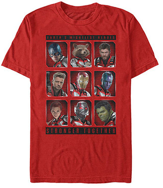 Fifth Sun Tee Shirts RED - Avengers Red 'Mightiest Heroes' Grid Crewneck Tee - Adult