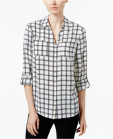 Charter Club Petite Plaid Utility Shirt, Only at Macy's