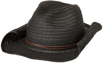 San Diego Hat Company PBC2443OS Paperbraid Cowboy w/ Double Braid Trim (Black) Caps