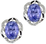 Gem Stone King 3.14 Ct Oval Blue Tanzanite and White Diamond 18k White Gold Earrings