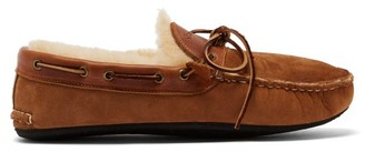 Quoddy Fireside Suede And Shearling Slippers - Grey