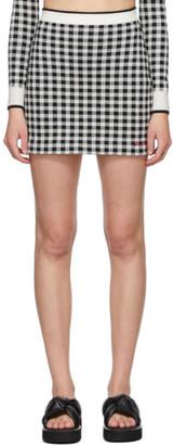 Miu Miu Black and White Knit Logo Miniskirt