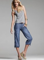 Chambray cargo crop pant