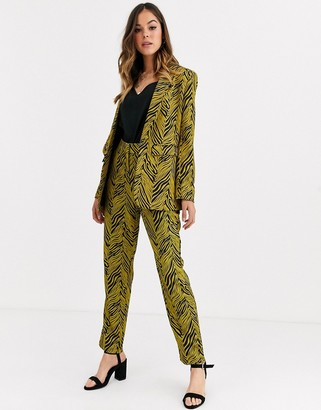 Liquorish suit pant co ord in gold and black abstract print