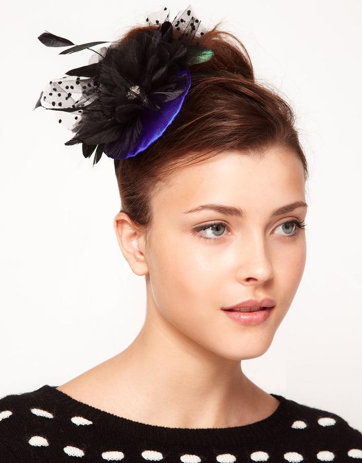 Johnny Loves Rosie Feather & Veil Spray Headband with Blue Silk Cap