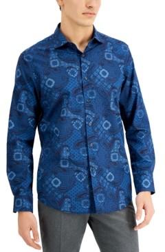 Tasso Elba Men's Stretch Geo Paisley-Print Dobby Shirt, Created for Macy's