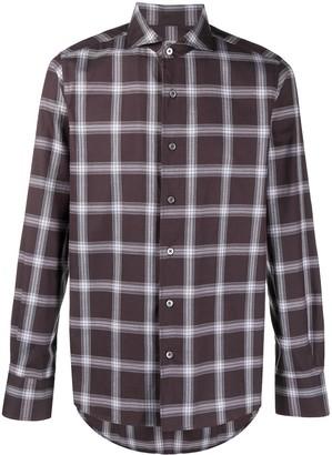 Canali Plaid Check Print Cotton Shirt