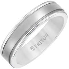 Triton 6MM White Tungsten Carbide Ring with 14K White Gold Step Edge Insert