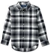 Ralph Lauren Long-Sleeve Plaid Cotton Shirt, White/Black, Size 2-7