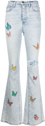 Amiri Butterfly-Print Ripped Jeans