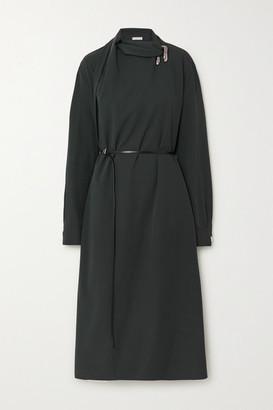 Bottega Veneta Belted Embellished Wool Wrap Dress - Green