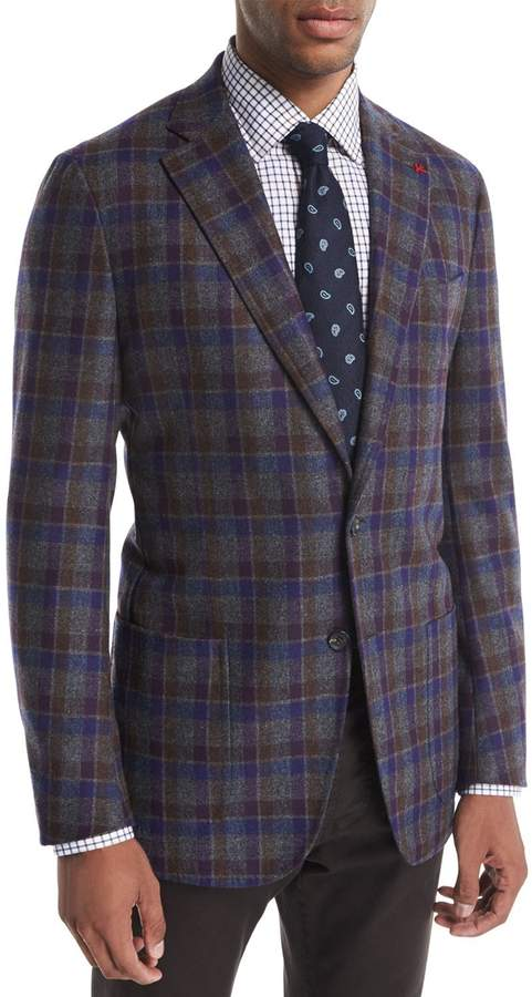 Isaia Domenico Large Check Wool-Cashmere Blazer