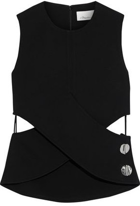 3.1 Phillip Lim Crossover Button-embellished Cutout Twill Top