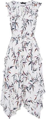 Rachel Zoe Pippa Ruffle-trimmed Printed Silk Crepe De Chine Midi Dress