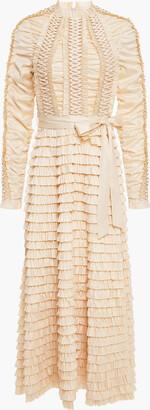 Zimmermann Tiered Lace-up Silk-blend Twill Midi Dress