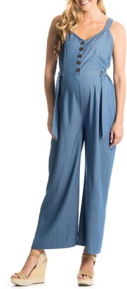 Everly Grey Luciana Chambray Maternity/Nursing Jumpsuit