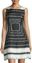 Julie Brown Orla Buckle-Print Sleeveless A-Line Dress, Black Duchess