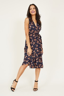 Yumi Navy Leaf Print Midi Dress