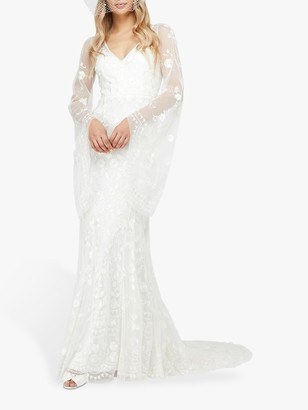 Monsoon Evelina Floral Lace Bridal Dress, Ivory