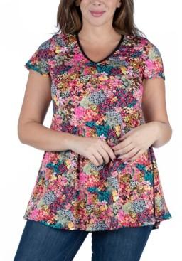 24seven Comfort Apparel Women's Plus Size Floral Short Sleeve V-neck Tunic Top