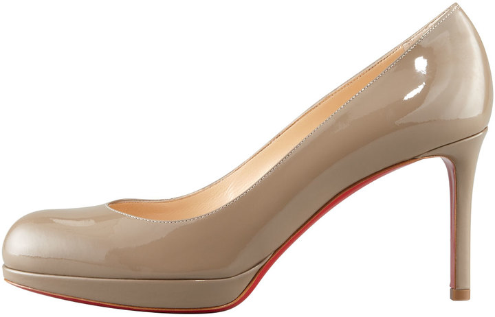 Christian Louboutin New Simple Patent Platform Red Sole Pump, Grege