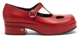Gucci Vanda T-bar Leather Platform Flats - Red