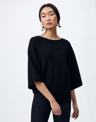 Lafayette 148 New York Cotton Crepe Bateau Neck Sweater