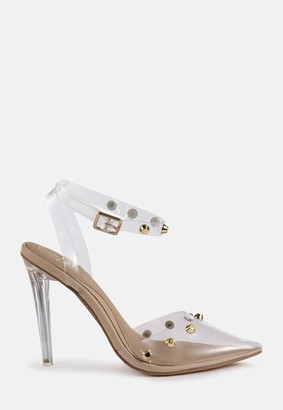 Missguided Nude Clear Dome Stud Heeled Sandals