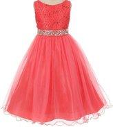 Dreamer P Big Girls' Dress Sparkly Sequins Dress Detachable Rhinestone Crystal Sash Flower Girl Dress Mint (M3B4K0CB)