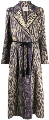 Forte Forte Animal-Print Belted Midi Coat