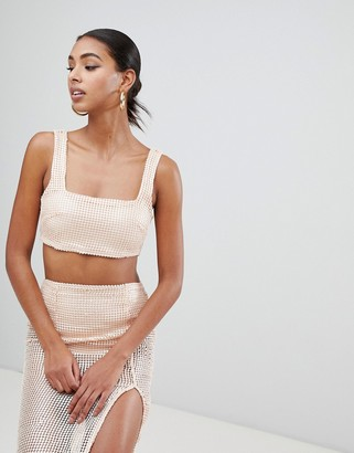 In The Style Tammy Hembrow embroidered sequin crop top