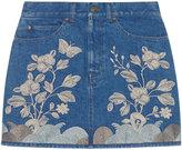 Gucci Embroidered denim mini skirt - women - Cotton/Spandex/Elastane - 38
