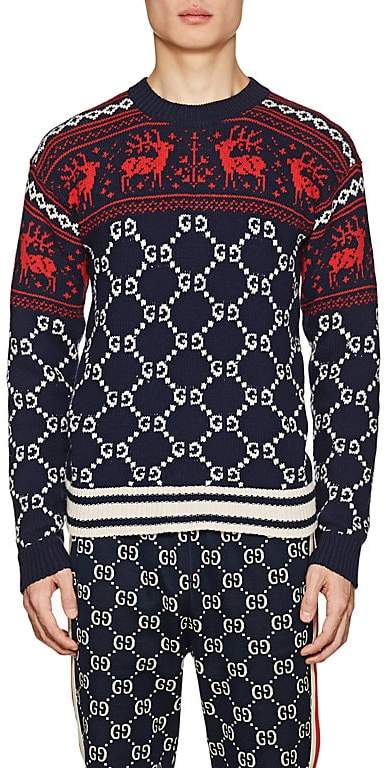 Gucci Men's Fair Isle & GG Supreme Wool Sweater