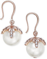 Charter Club Rose Gold-Tone Imitation Pearl and Pavé Drop Earrings, Only at Macy's