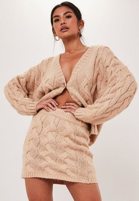 Missguided Petite Camel Co Ord Cable Knit Mini Skirt