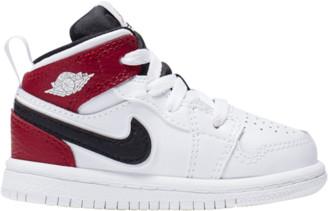 Jordan AJ 1 Mid Basketball Shoes - White / Black