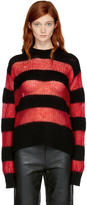 McQ Black and Red Striped Crewneck Sweater