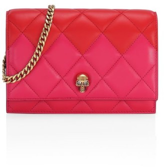 Alexander McQueen Small Skull Two-Tone Quilted Leather Crossbody Bag
