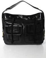 Saint Laurent Black Leather Patent Leather Trim Pocket Front Hobo Handbag
