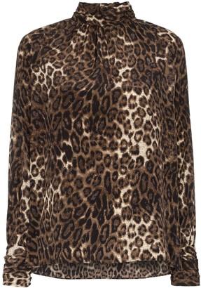Nili Lotan Alana leopard print silk blouse