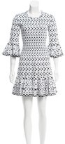 Alaia Patterned Ruffle-Trimmed Dress w/ Tags