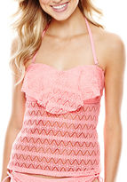 Arizona Crochet Flounce Bandeaukini Swim Top - Juniors