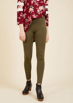 Crazy for Cozy Fleece-Lined Leggings in Olive in S/M