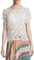 Neiman Marcus Short-Sleeve Crochet Top, Natural