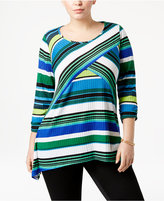 NY Collection Plus Size Striped Knit Top