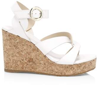 Jimmy Choo Aleili Leather Cork Wedges