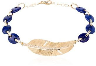 Jacquie Aiche 14kt gold, diamond and lapis lazuli beaded bracelet