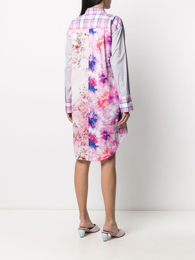 Thumbnail for your product : MSGM Multi-Print Patchwork Shirt Dress